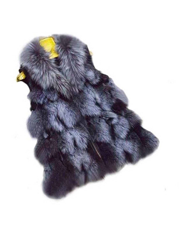 YR Lover Damen Winter Warm Silver Fuchs Pelz Weste Gilet WaistMantel bestellen