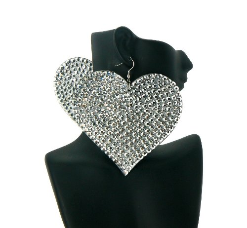 Silver Heart Poparazzi Iced Out Light Weight Basketball Wives Earrings Lady Gaga Paparazzi