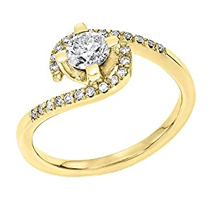 IGI Certified 14k yellow-gold Round Cut Diamond Engagement Ring (0.40 cttw, H Color, SI1 Clarity) - size 5