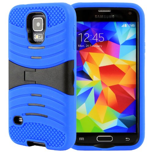 Celljoy Extreme Kick Stand Hybrid Armor Hard Case Cover For Samsung Galaxy S5 Sv (At&T / Verizon / Us Cellular / Sprint / T-Mobile / Unlocked) [Celljoy Retail Packaging] (Royal Blue)