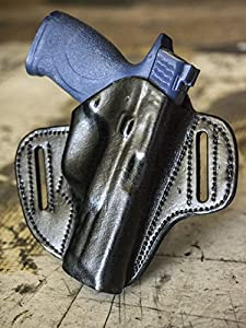 OUTBAGS LOB1P-G21 Black Genuine Leather OWB Open Carry Pancake, Side Carry Belt Holster for Glock G17 17 9mm / G20 20 10mm / G21 21 .45ACP / G22 22 10mm / G31 31 .357 / G37 37 .45GAP. Handcrafted in USA.