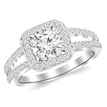buy 1.13 Carat Designer Split Shank Halo Style With Milgrain Diamond Engagement Ring 14K White Gold With A 0.63 Carat F-G Si1-Si2 Round Brilliant Cut/Shape Center