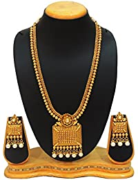 SatyamJewelleryNx Traditional Long Necklace Set For Women South Indian Jewellery (Wedding Season)
