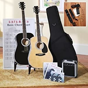 Esteban American Legacy LEFT HANDED Tan Acoustic Electric Guitar Package w/ Amp, 2 DVDs and Accessories - Blem