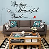 Luxbon Keep Smiling Because Life Is a Beautiful Thing...-marilyn Monroe Vinyl Home Room Decor Removable DIY Art Wallpaper Wall Sticker/decal Mural
