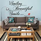 Homwish - Keep smiling Because life is a beautiful thing...-Marilyn Monroe Vinyl Home room Decor Removable DIY Art WallPaper Wall Sticker/Decal Mural