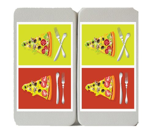 Red & Yellow 2 Slices Of Pizza W/ Fork & Knife Logo - Taiga Hinge Wallet Clutch
