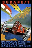 Budapest Hungary 1936 Automobile Car Race Grand Prix European Vintage Poster Repro on PAPER or on CANVAS. We Have Many Sizes Available ! (20