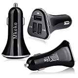 Car Charger, Powerful Triple 3 Port USB Cell Phone Micro USB Charger, Charge 3 Devices Full Speed - Apple, Samsung, Travel Accessories 12/24V-5V/6.8A Cigarette Lighter Plug (Charger+Mount Black)
