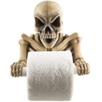 Evil Skeleton Decorative Toilet Paper Holder in Scary Halloween Decorations As Bathroom Decor Wall Plaques, Sculptures and Novelty Bath Accessories or Spooky Skulls & Skeletons for Medieval & Gothic Gifts from Generic