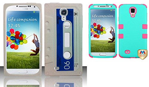 Combo Pack For Samsung Galaxy S4 I9500 - Cassette Tape Silicon Skin Case - White Sccs And Mybat Rubberized Teal Green/Electric Pink Tuff Hybrid Phone Protector Cover For Samsung Galaxy S 4 (I337/L720/M919/I545/R970/I9505/I9500)