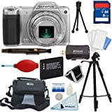 Olympus Stylus SZ-15 Digital Camera with 24x Optical Zoom (Silver) + Tripod + 8GB Card + Battery + Case + Premium Starter Kit