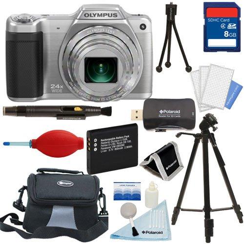 Olympus Stylus Sz-15 Digital Camera With 24X Optical Zoom (Silver) + Tripod + 8Gb Card + Battery + Case + Premium Starter Kit