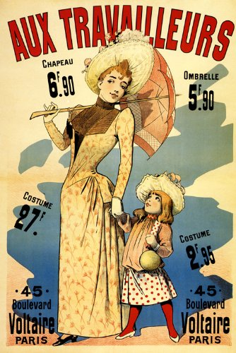 """Fashion Mother Daughter Child Hat Umbrella Clothes Voltaire Paris France French Vintage Poster Repro 16"""" X 22"""" Image Size. We Have Other Sizes Available! front-997649"""