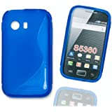 Silikon Case H�lle Etui Handytasche Handykondom Back Cover in blau f�r Samsung Galaxy Young Y GT-S5360 / GT-S5363 / GT-S5369 inkl. World-of-Technik Touchpen