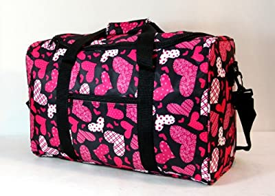 "Small 21"" Womens Holdall Hand Luggage Cabin Flight Bag Carry On Board 54x30x20cm (Black/Hearts)"