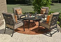 Big Sale The Herve Collection 4-Person All Welded Cast Aluminum Patio Furniture Deep Seating Conversation Set With Drink Table And Spring Rocking Club Chairs