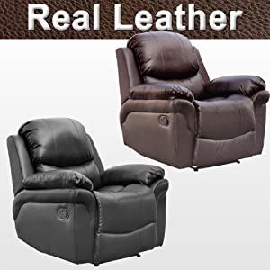 Madison Leather Recliner Armchair Sofa Home Lounge Chair Reclining Gaming by More4Homes