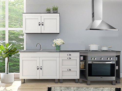 k chenblock tilo 5 teillig aus kiefer massiv in wei grau. Black Bedroom Furniture Sets. Home Design Ideas