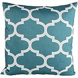 Puredown Canvas Decorative Cushion Covers Sofa Chair Seat Throw Pillow Case Quatrefoil Print Square 18X18 Inch Teal