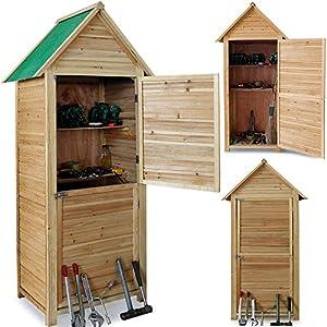 Abri de jardin en bois cabane 190x79x49cm 2 tag res 2 portes verrouillables jardin - Cabane de jardin sans dalle ...