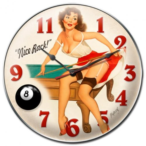 Nice Rack Pinup Girls Clock - Victory Vintage Signs