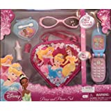 Disney Princess Purse and Phone Set. Includes Purse. Play Phone. Play Eye Shadow Compact. Play Lipstick and Play Sunglasses