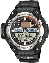 CASIO SGW-400H-1BVER - Reloj de caballero de cuarzo con altímetro, barómetro, termómetro, horario mundial, correa de caucho, color negro