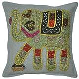 Lalhaveli Elephant Design Patchwork Cotton Pillow Cover 16 Inches 1 Pc - B00MXT50Y2