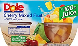 Dole Fruit Bowls, Cherry Mixed Fruit in 100% Fruit Juice, 4 Ounce, 4 Cups (Pack of 6)