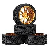Mxfans 4個入れ RC1:10オンロードカーのため ゴールド アルミ合金 10スポークホイールリム & ブラック 葉柄のラバータイヤ