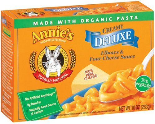 Annie's Homegrown Creamy Deluxe Elbows & Four Cheese Sauce, 10-Ounce Boxes (Pack of 12)