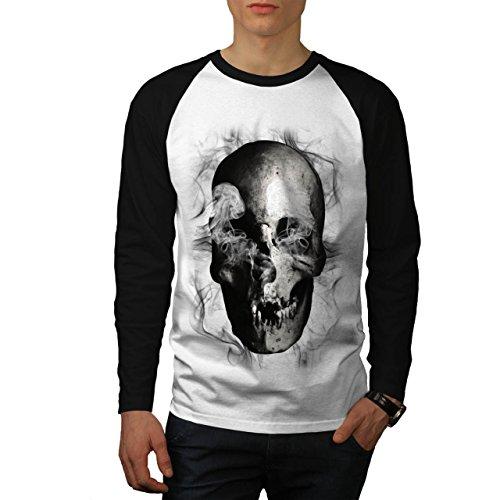 Cranio diavolo Flames Zombie Anima Uomo Nuovo Bianca (Maniche Nere) XL Baseball manica lunga Maglietta | Wellcoda
