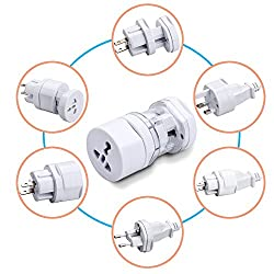 LipiWorld All In One Kit Universal World Wide Travel Charger Adapter Plug for Us Uk Eu Au (White) Small Size Compact Portable