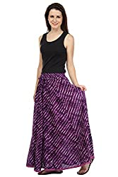 Rrajsee Women's Cotton Skirt (RAPPLWRLSKTNDPUR, Purple)