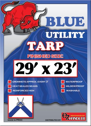 29ft x23ft Blue 6-mil Waterproof Poly Tarp Camp Tarp Tarpaulin for Camping Tent Shelter Shade Canopy
