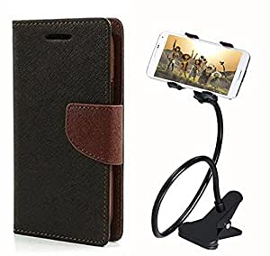 Aart Fancy Diary Card Wallet Flip Case Back Cover For Motorola Moto E - (Blackbrown) + 360 Rotating Bed Tablet Moblie Phone Holder Universal Car Holder Stand Lazy Bed Desktop for by Aart store.