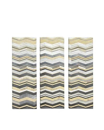 Set of 3 Wave Artwork, Grey Multi