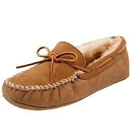 Minnetonka Men\'s Sheepskin Softsole Moccasin Slipper,Golden Tan,15 M US