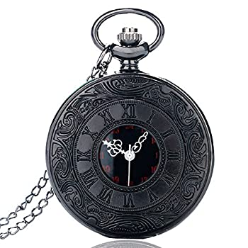 HJIAN Pocket Watch Black Roman Retro Vintage Quartz Pocket Watch Roman Numerals Steampunk Fob Watch