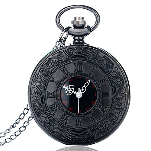 HJIAN Pocket Watch Black Roman Retro Vintage Quartz Pocket Watch Roman Numerals Steampunk Fob Watch 1