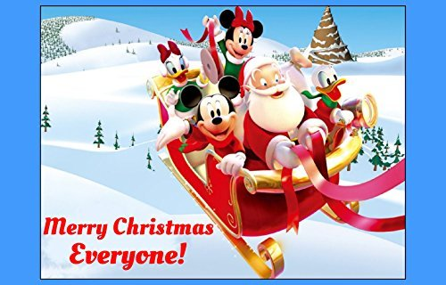 CHRISTMAS MICKEY edible IMAGE CAKE TOPPER