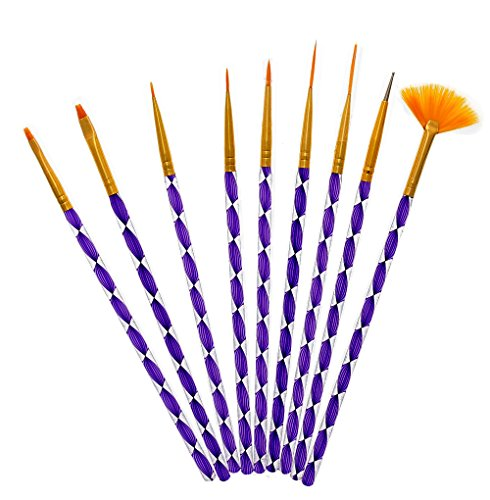 9 Pcs Nail Art Manicure Pedicure Beauty Painting Polish Brush and Dotting Pen Tool Set Design Paint for Natural False Acrylic And Gel Nails (Manicure Brush Set compare prices)
