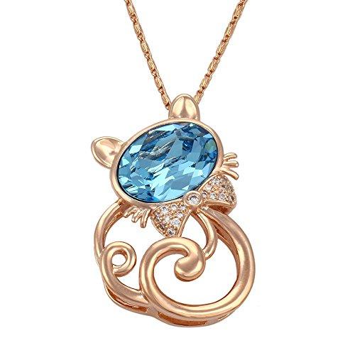Collana con ciondolo cristalli incastonati glod 18 k, in metallo, a forma di gattino Cristalli dal Swarovski e Placcato oro rosa, colore: blu, cod. 32582D3