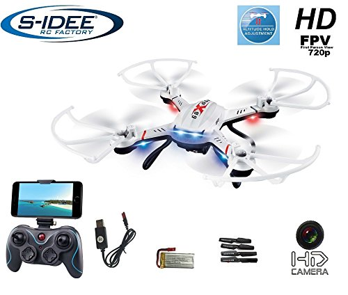 s-idee-01603-Quadrocopter-S181W-Wifi-Drohne-FPV-HD-Kamera-45-Kanal-24-Ghz-Drone-mit-Kamera-Gyro-6-Axis-Technik-RC-Quadro-3D-VR-mglich-Hhenstabilisierung-One-Key-Return-Coming-Home-Funktion
