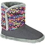 Ladies Womens Zedzzz Grey Knitted Warm Lined Boot Slippers Sizes 3 4 5 6 7 8