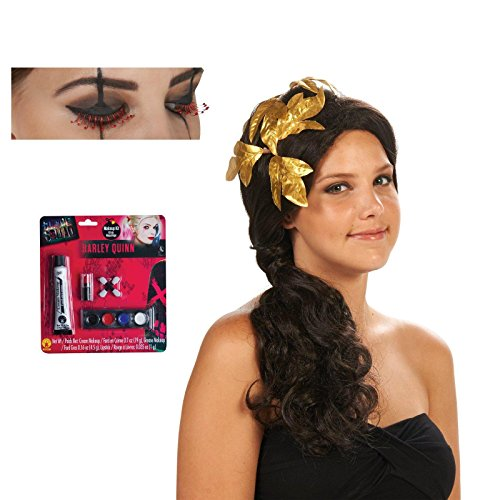 [Greek Goddess Adult Wig with Gold Piece Red Eyelashes and Makeup Bundle Set] (Roman Emperor Costume Accessories)