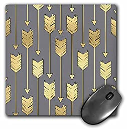 Grey and Gold Arrows Pattern - Mouse Pad, 8 by 8 inches (mp_219529_1)