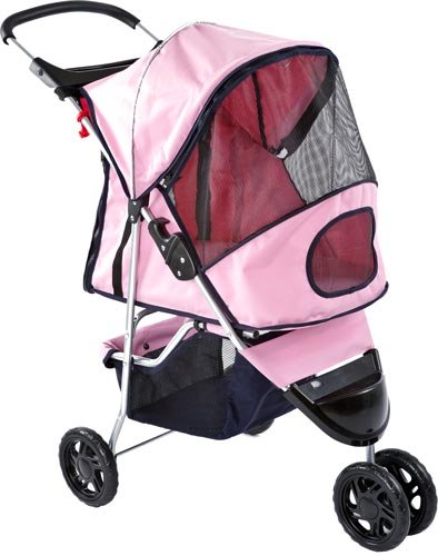 Pink Pampered Pet Jogging Stroller For Small Dogs And Cats front-15721