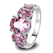 buy Psiroy 925 Sterling Silver Fashion Oval Cut Pink Topaz Gemstone Ring Band For Women